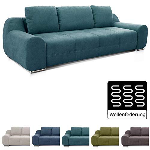 Cavadore Big Sofa Benderes / XXL-Couch mit Steppung und Ziernaht / Inkl. 3 Kissen / Chromfüße / 266 x 70 x 102 (BxHxT) /  Türkis (Big Sofa)