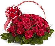 Floralbay Fresh Flower Red Roses Special Handel Basket (Basket of 30)