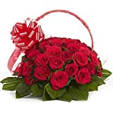 Floralbay Red Roses Bouquet Fresh Flowers in Cellophane Wrapping (Basket of 30)