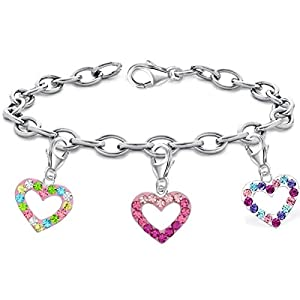 14-22cm Rolo Armband mit Charm 925 Echt Silber Herz Anhänger Damen Kinder Mädchen