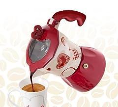 Idea Regalo - BRANDANI UFFICIALE CAFFETTIERA MOKA CUORE ROSSO BIANCA LOVE ROMANTIC EXPRESS 3 TAZZE ALLUMINIO 55594