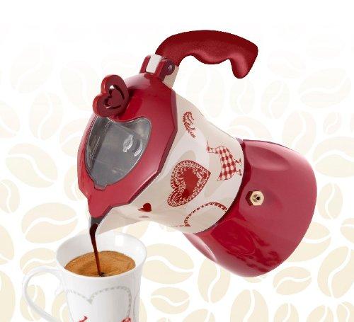 Cafetera Brandani Corazón Rojo y Blanco