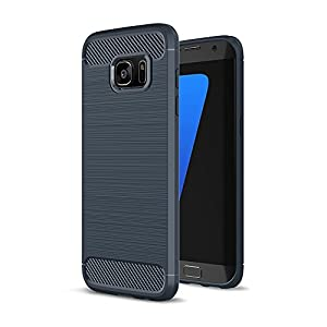 Crust CarbonX Brushed Metal & Carbon Fiber TPU Back Case Cover For Samsung Galaxy S7 Edge SM-G935, Slim Armor - Midnight Blue