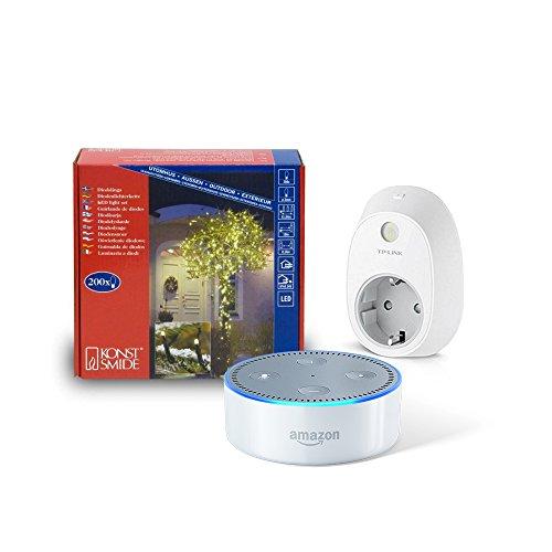 Dein smarter Christbaum: Set bestehend aus Amazon Echo Dot (2. Generation), Weiß + TP-Link Smart Steckdose + 200er LED Lichterkette