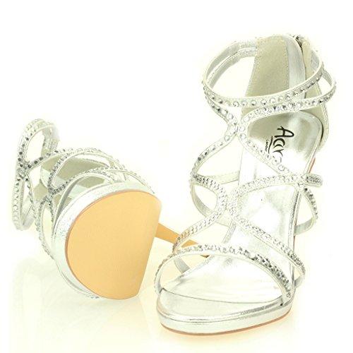 Femmes Dames Soir Casual Mariage Party Haute Talon Stiletto Diamante Peep Toe De Mariée Sandale Chaussures Taille (Or, Argent, Noir) Argent