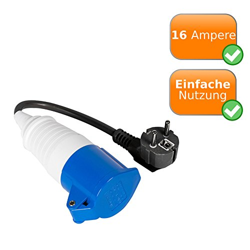 Preisvergleich Produktbild CEE-Adapter mit Schuko Kupplung,  Camping - Zubehör zum anschließen von Wohnmobil / Camper / Wohnwagen / Caravan an übliche Steckdosen