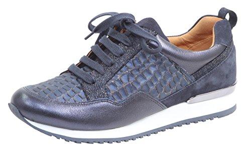 CAPRICE Damen Low-Top Sneaker 23602-21,Frauen Keil-Sneaker,Sneaker Wedges,Keilabsatz,Halbschuh,Sportschuh,Schnürschuh, Decksohle,2.5cm,Blue Comb,EU 38 Blue Suede Wedge
