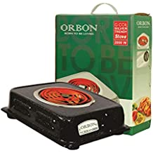 ORBON 2000 Watt Rectangular Marble Vitreous Black G Coil Stove Hot Plate Induction Cooktop/Induction Cookers/Electric Cooking Heater/Induction Radient Cooktop ( MADE IN INDIA )( HUGE DIWALI DISCOUNT & FREE SHIPPING )