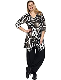 Animalprint Long Tunika mit Lederoptik Besatz schwarz-beige