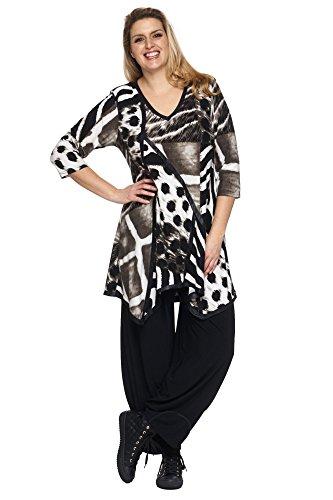 Animalprint Long Tunika mit Lederoptik Besatz schwarz-beige Braun