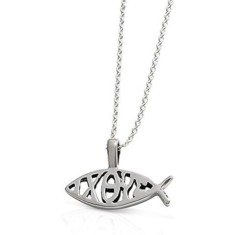 'LJ Designs pesce–Collana, con scritta