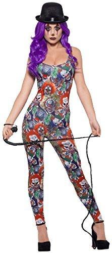 Sexy Unheimlich Kostüm Clown - Fancy Me Damen Sexy Verrückt Psycho Clown Zirkus Halloween Horror Unheimlich Kostüm Kleid Outfit - Multi, UK 8-10 (EU 36/38)
