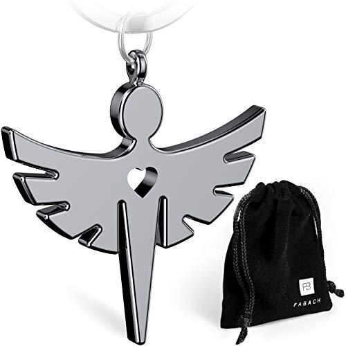 FABACH Schutzengel Schlüsselanhänger mit Herz - Edler Engel Anhänger aus Metall in glänzendem Silber - Glücksbringer Geschenk für Auto, Führerschein - Fahr vorsichtig