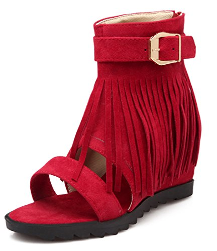 YE Damen Offene Peep Toe High Heels Plateau Sandalen mit Fransen und Schnallen  Reißverschluss Sommer Schuhe