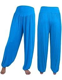 Femme Pantalon Sarouel Eté Mode Large Uni Manche Pantalon Culotte Bouffante Elégante  Taille Haute Fille Vêtements 33964487b818