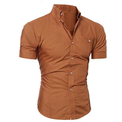 Ularma Herren Hemd Kurzarm Slim Fit 8 Farben Baumwolle Button-Down Shirt Freizeit Braun