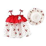 LEXUPE Kleinkind-Baby scherzt Mädchen-ärmelloses Bügel-Punkt-Kirschdruck-Prinzessin Dresses Hat(Rot,100/12)