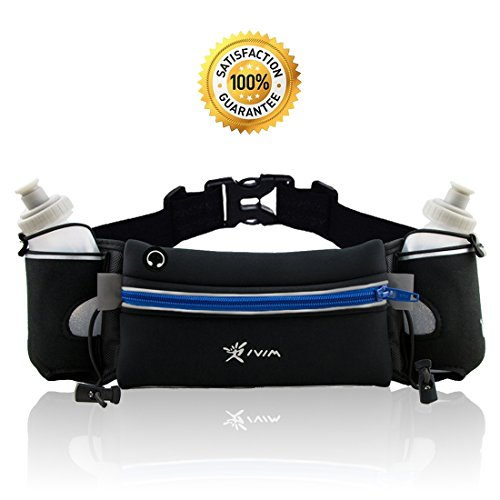 No Bounce Reflective Hydration Running Belt with 2 x BPA Free Water Bottles Each 280ml, Hydration Waist Pack, Sports Waist Pouch for Hiking Running Jogging Climbing, Fits iPhone6, 6s Plus, Se, Samsung GalaxyS6/5 Note 4/3/2 (Blue)