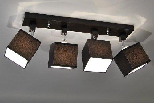 Lampadario a soffitto con faretti, stile retro, E27 LED, New York 11, Sockelfarbe: Wenge, Sockel: 60x10cm Schirm: Höhe 12cm Breite 12x12cm