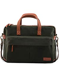 31e751b9de VOLOQ Siach Men and Women s 15.6 Canvas and Vegan Leather Laptop Shoulder  Messenger Bag for Meetings