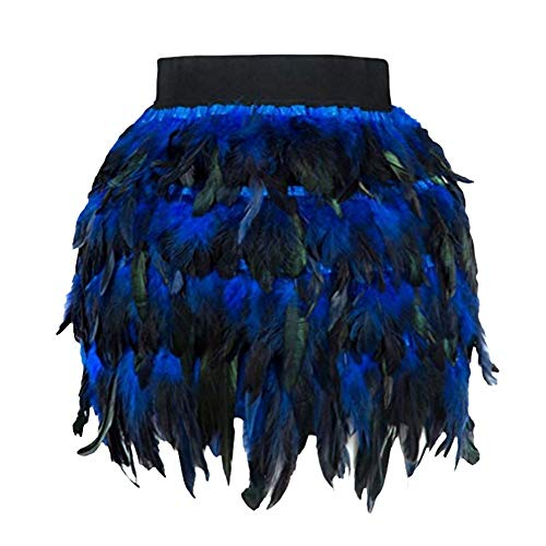 Xmiral Rock Damen Künstlich Feather A-Linie Cosplay Minirock Weihnachten Halloween Party Leistung kostüm(XL,Blau) (Gefiederte Röcke Kostüm)