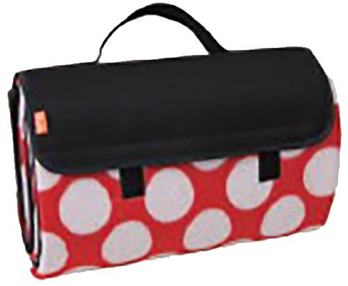 Brubaker Picknick Decke Fleece mit wasserfester PEVA Unterseite 150 x 135 cm Schwarz Rot Weiß Punkte