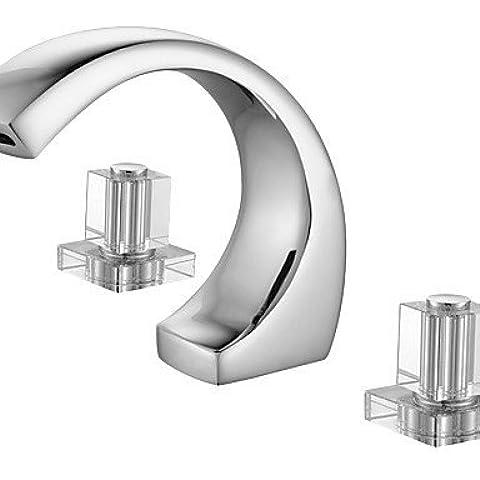 ZYP Acabado en cromo dos asas grifo generalizado Contemporáneo lavabo del baño