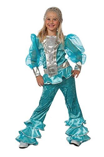 W3149B-164 türkis Kinder Disco Anzug Disco Queen - Disco Queen Kostüm Kinder
