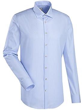 JACQUES BRITT Business Hemd Custom Fit 1/1-Arm Bügelleicht Streifen City-Hemd Kent-Kragen Manschette weitenverstellbar