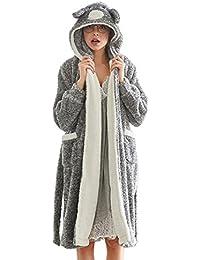 0c52cd8745f66 GWELL Femme Peignoir Polaire Long Hiver Chaud Pyjama Robe à Capuche  Vêtements de ...