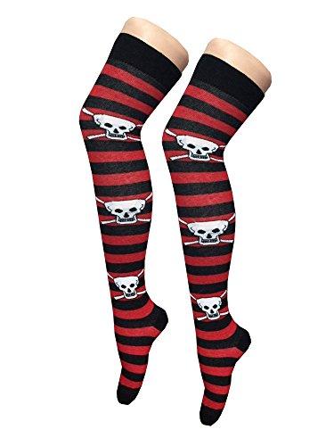 Damen Mädchen Halloween-Skelett , figurbetontes Kleid Leggings Bodysuit plus EUR Größe 36-54 Schädel -Streifen- Kniestrümpfe