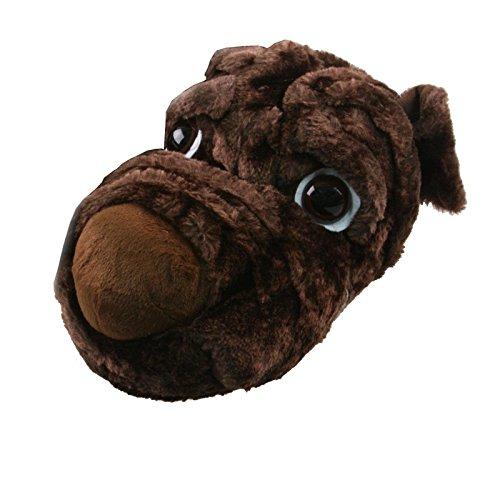 Tierhausschuhe Hausschuhe Hund Kulleraugen Plüsch Pantoffel Puschen Schlappen Flauschig weich, TH-DOGBEN Braun