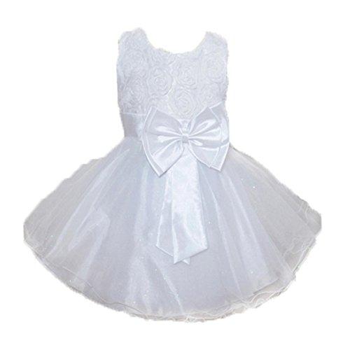 JERFER Kleinkind Baby Mädchen Bling Pailletten Großer Bogen Sleeveless Tutu Prinzessin Kleid Outfits Kleidung 2-8T/Jahre alt (Weiß, 3T)