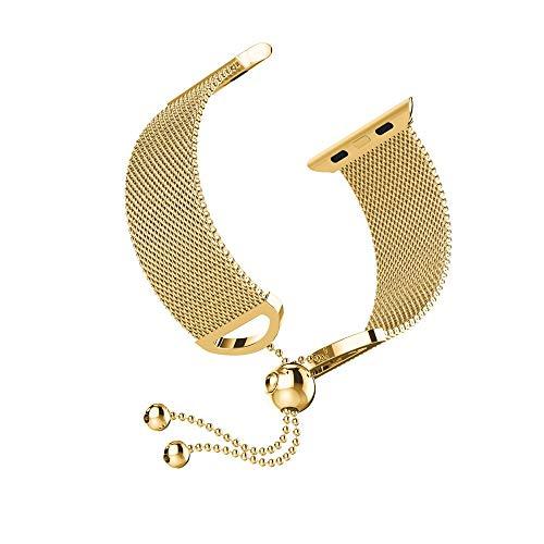 Vamoro Milanese Edelstahl-Ersatzarmband Edelstahl Metall Uhrenarmband Ersatz Uhren-Armband Watch Band für Apple Watch Series 4 40mm(Gold)