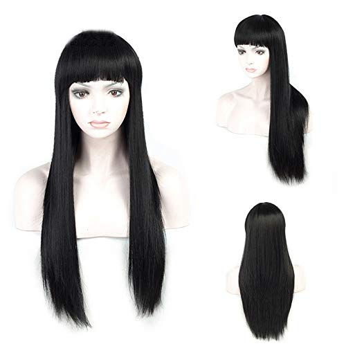 Mm parrucca europea e americana parrucca femminile capelli lunghi lisci copricapo completo qi liuhai capelli lunghi neri finti simulazione testa,a,taglia unica