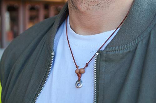 Surferkette Herren Damen Halskette Surfer Kette Made by Nami - Handmade Qualität aus Leder mit Anhänger und Perlen - Patina 1
