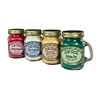 ‏‪Our Own Candle Company 4 Pack Christmas Assortment Mini Mason Jar Candles - 3.5 Oz Balsam Pine, 3.5 Oz Cranberry Orange Spice, 3.5 Oz Homemade Sugar Cookie, 3.5 Oz Winter Wonderland‬‏