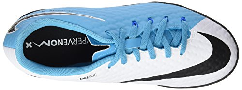 Nike - Jr Hypervenomx Phelon Iii Tf, Scarpe da calcio Unisex – Bambini Blu (White/black-photo Blue-chlorine Blue)