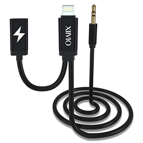 XIIVIO AUX und Ladekabel kompatibel mit Phone XS/XS Max, AUX Kabel mit Ladeadapter und Audio Kopfhörerbuchse kompatibel für Phone XS/XS Max/X / 8/7 / iPad zu Autoradio/Home Speaker - Audio-kabel Mit