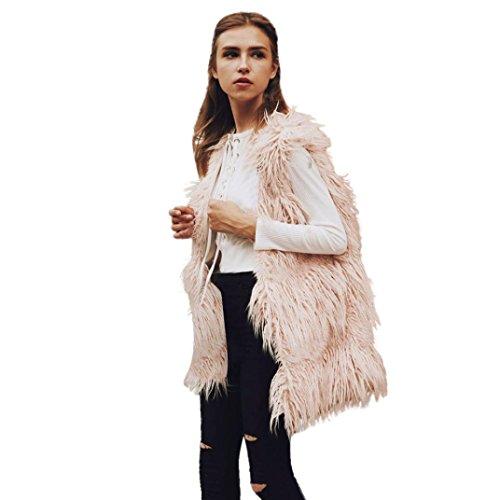 Kunstpelz Mäntel Sunday Damen ärmellose Weste Gilet Shrug Warme Outwear (Rosa, 3XL) (Haar-womens Rosa T-shirt)