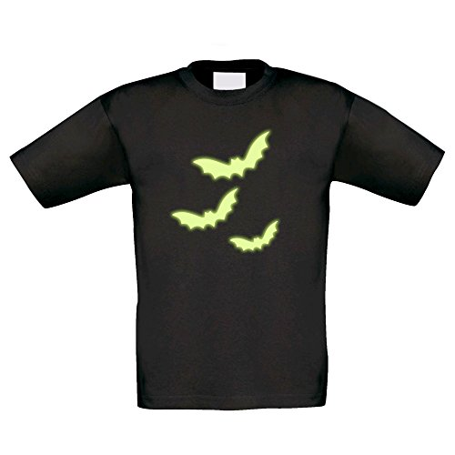 Kinder Halloween Shirt - Drei Fledermäuse - glow in the dark, schwarz-glow, (Familie Kostüme Themen Batman)