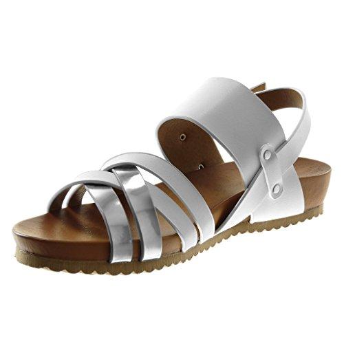 Angkorly Scarpe Moda Sandali Mules Gladiatore con Cinturino Alla Caviglia Aperto Donna Borchiati Lucide Multi-Briglia Tacco Zeppa 3.5 cm Bianco