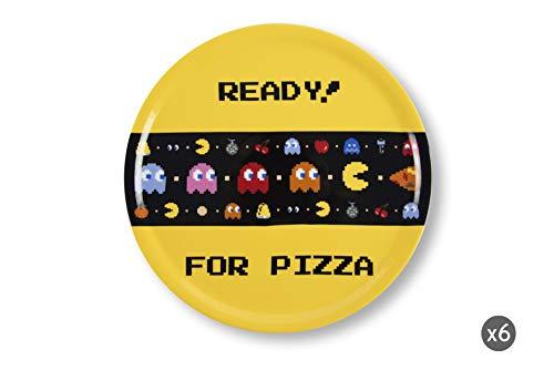 Excelsa Lot de 6 Assiettes à Pizza Pacman, Porcelaine, Jaune, 31 cm