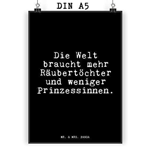 Mr. & Mrs. Panda Poster DIN A5 mit Spruch Die Welt braucht mehr Räubertöchter und weniger Prinzessinnen. (Die Und Das Wort Welt)