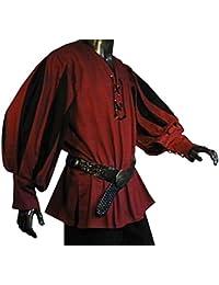 Mittelalter Landsknechthemd rot, Einsätze in schwarz, Größen XS - XXXL