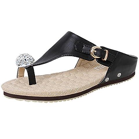 Oasap Women's Flat Slingback Rhinestone Thong Sandals, Black EURO37/US6/UK4