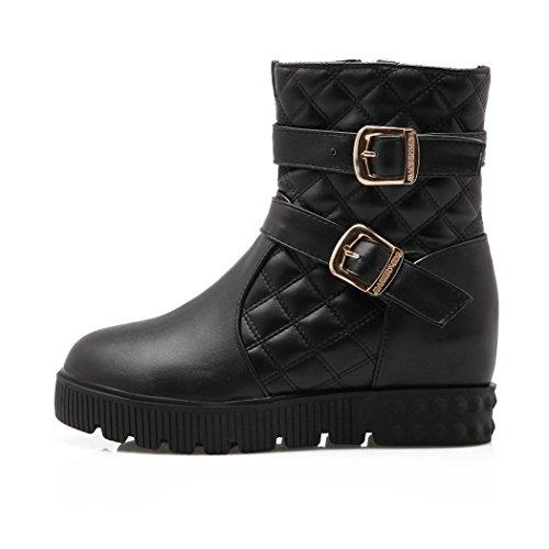 ZQ QXcadeau de Noël L'Europe et de l'United States Code bottes en daim avec de grosses bottes diamant dépoli,Black,45