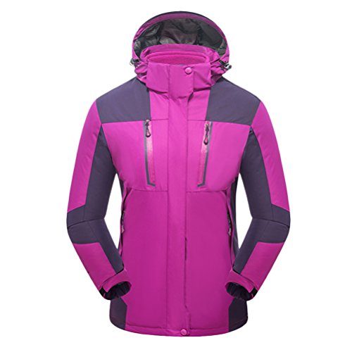 Zhhlinyuan Outdoor Softshell Hooded Casual Outwear Two pieces Womens Des sports Waterproof Jacket purple