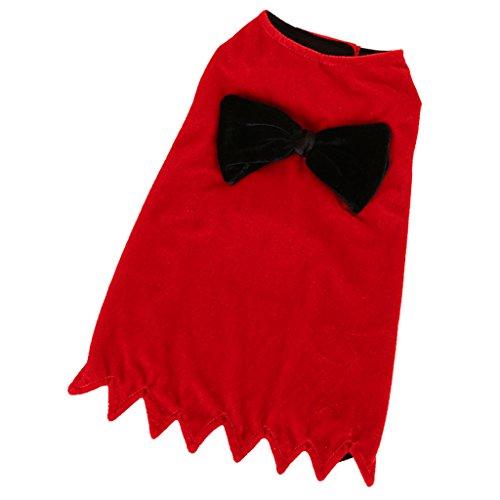 MagiDeal 1 Stk. Haustier Umhang Schleife Deko Mantel Cloak Cape modisch Haushund Hauskatze Kostüm - weich nd gemütlich - Rot - M