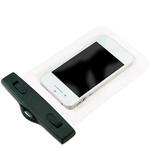 TIODIO® Custodia Impermeabile con Laccio da Collo per Telefoni Cellulari con Funzione Touch Screen Compatibile con Apple iPhone 6, iPhone 6 Plus, Galaxy S6, S6 edge e Altri Smartphone con 4 a 5,5 Sc Trasparente
